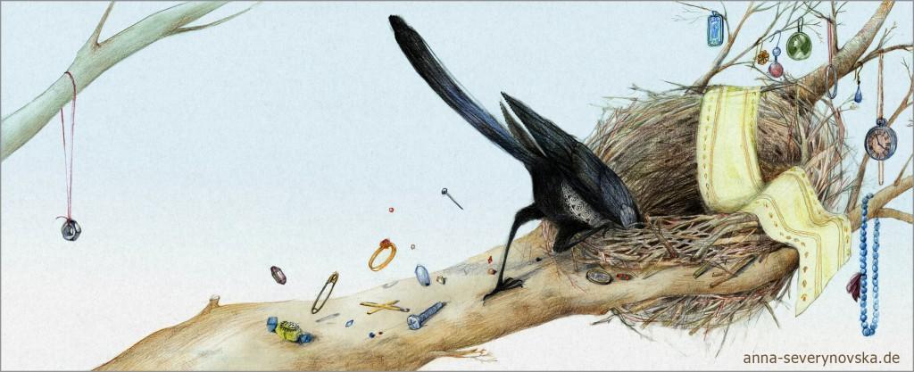 elster sucht im nest-web
